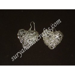 Silver Earrings Heart Shape