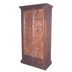 2 Drawer Iron Worked Carved Old Door Style Almirah