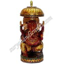 Wooden Painting Chatri Ganesh