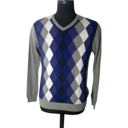Acrylic Woolen V Neck Grey Black Argyle Sweater