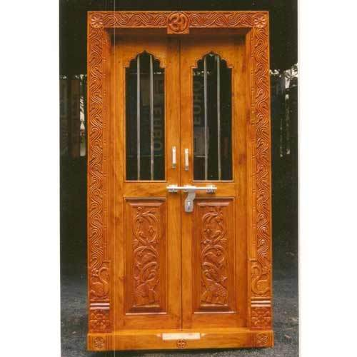 wooden door with window frames