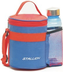 Stallion Red And Blue Lunch Box 3 In 1 With Bottle, Size: 600ML