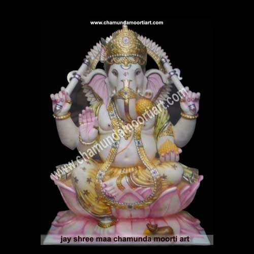 Marble Ganesh with Lotus Statue
