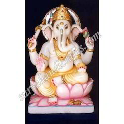 Marble Ganesh With Gold Painted
