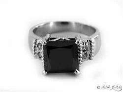 2ct Designer Princess Cut Black Diamond Solitaire Ring