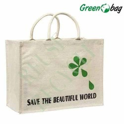Green Printed Juco Shopping Bags