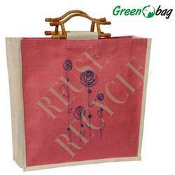 Red Green Bag Wooden Handle Tote Bags