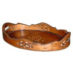 Copper Finished Embossed Round Tray M-7012