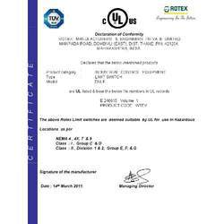 UL Certificate for limit Switch DNLF