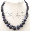 Handcrafted Single Strand Precious Sapphire Beads Necklace