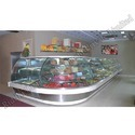 Stainless Steel Curve Snacks Display Counter, For Commercial