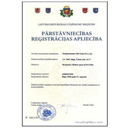 Certification of Parstavniecibas Registracijas Apliecibale