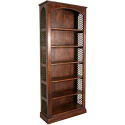 Half Round Shape Bookcase With Iron Mesh