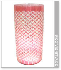 Glass Cut Work Flower Vase