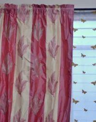 Embroidered Silk Checks Curtain