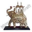 Brass Lekar Stone Elephants
