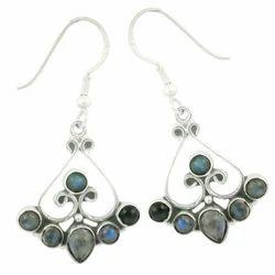 Art Palace Silver 925 labradorite and rainbow moonstone designer earring
