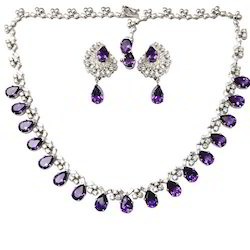 Semi Precious Stone Amethyst Necklace Micro Setting Jewelry
