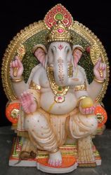 GA-4023 Indian Marble Ganesha Statue