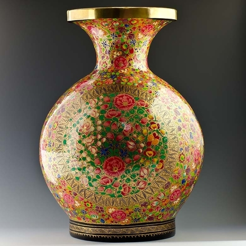 Hand Painted Flower Vase Ms Gulam Hussan Exporter In Rainawari