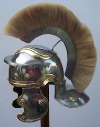 Roman Helmet With Cream Crest
