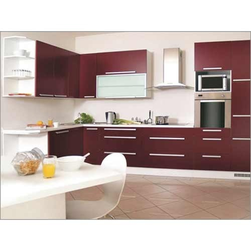 Modular Kitchen: Wooden Residential Modular Stylish Kitchen Designing
