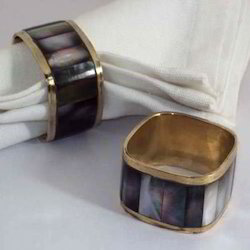 MKI Silver MOP Napkin Ring, Size: Dia. 2, Packaging Type: In Polybag