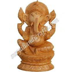 Wooden Sitting Ganesh Ji