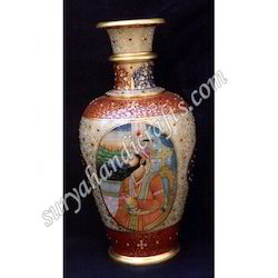 Marble Vase with Raja Rani Painting