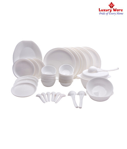 Royal Touch Multicolor White Dinner Set, Microwave Safe: Yes