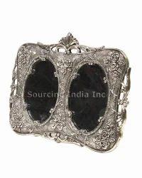 Collectible Engraved Silver Rose Wedding Double Photo Frame