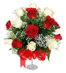 Two Dozen White And Red Roses Basket