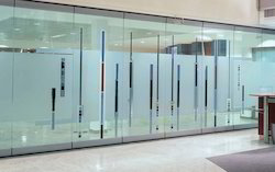 Plain Transparent Glass Partition, For Office, Shape: Rectangular