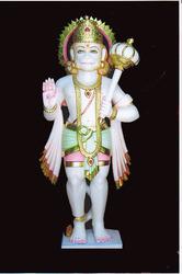 HU-0015 White Marble Lord Hanuman Statue
