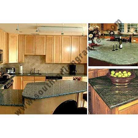 Kitchen Counter Tops Of Tropical Green Granite