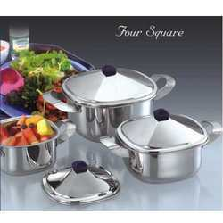 Four Square Stainless Steel Dishes Set