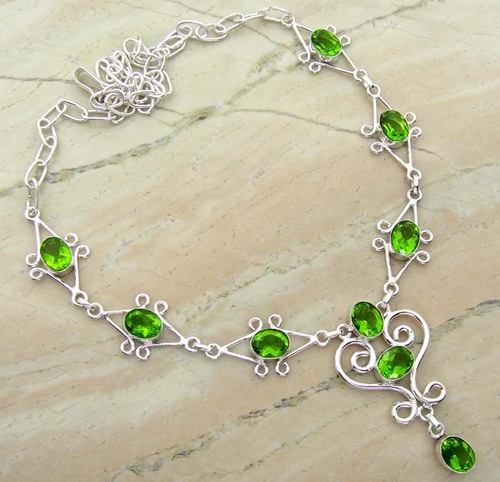 personalized august blank disk with peridot connector necklace birthstone products
