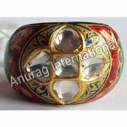 Natural Kundan Meena Polki Ring