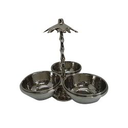 Tree Pickle-Chutney Stand W SS Hammered Bowls