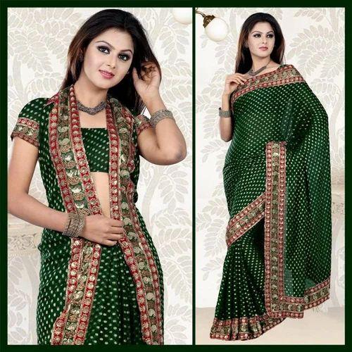 b34190c575 Deep Green Viscose Saree With Blouse - Nandwani Synthetics Private ...