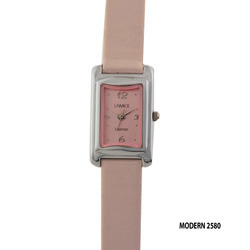 Ladies Silver Dial Pink Leather Band Wrist Watch