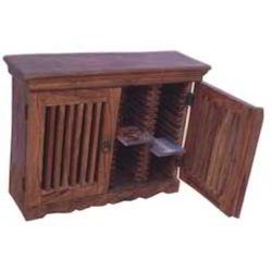 Wooden Mesh Door Shelf CD Rack