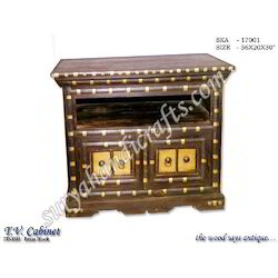 Wooden T.V. Cabinet Brass Block