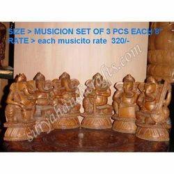Wooden Antic Ganesh Music Set