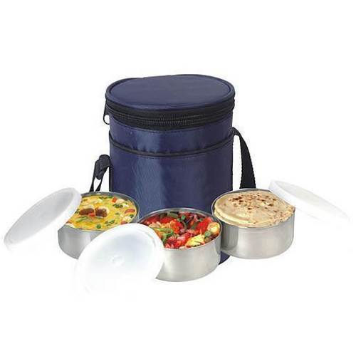 Stainless Steel Round Pouch 3 Container Tiffin