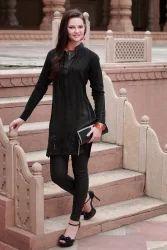 Full Sleeves Ladies Cotton Black Kurti, Wash Care: Machine wash