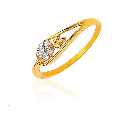 Gold And Diamond Fashion Flower Diamond Ladies Ring