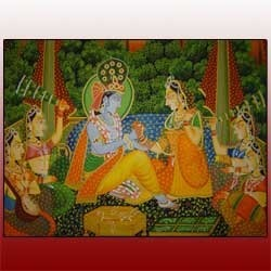 Silk Paintings Radha Krishna