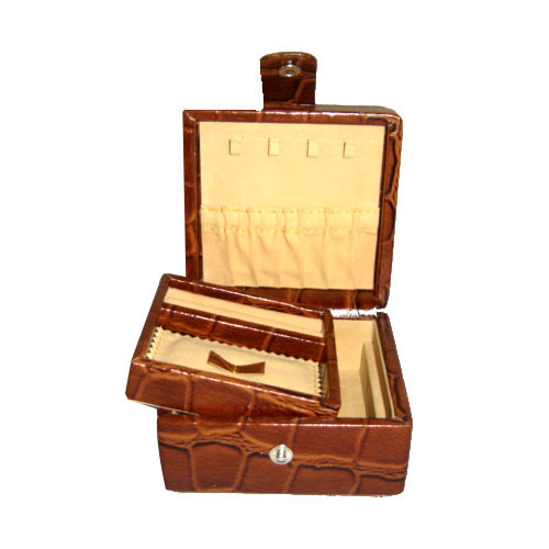 Brown Double Tray Leather Jewellery Box