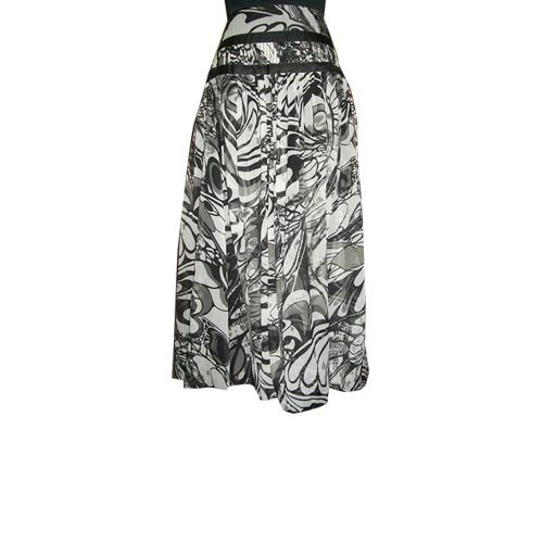 Printed Chiffon Skirt With Waist Ribbon
